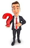3d businessman holds a question mark Stock Image