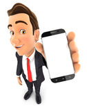 3d businessman holds smartphone Stock Photo