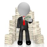3D businessman holiding 1 dollar bills. 3D cartoon character - businessman holiding one dollar bills, pile of money - great for topics like business, finance etc Stock Photography