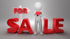 3d Businessman house for sale. 3d Businessman The house for sale in hands Royalty Free Stock Photos