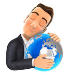 3d businessman hugging the earth. Illustration with  white background Stock Photo