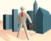 3d businessman illustration with case and red tie royalty free stock photos