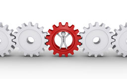Businessman is part of machine. 3d businessman inside cogwheel as the important part of engine Stock Images