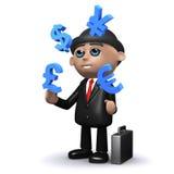 3d Businessman juggles currencies. 3d render of a businessman juggling major currencies Royalty Free Stock Photo