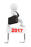 3d Businessman jump over the 2017 Year Barrier. 3d Rendering. 3d Businessman jump over the 2017 Year Barrier on a white background. 3d Rendering Stock Images