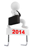 3d Businessman jump over the 2014 year barrier. On a white background royalty free illustration