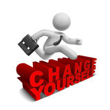 3d businessman jumping over 'change yourself' word. With white background Royalty Free Stock Photo