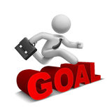 3d businessman jumping over 'goal' word Stock Photo