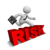 3d businessman jumping over 'risk' word Stock Photo