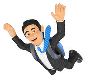 3D Businessman jumping in parachute Royalty Free Stock Photography
