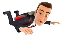 3d businessman jumping with a parachute Stock Photos