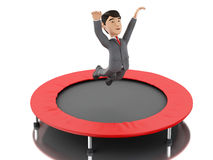 3d Businessman jumping on a trampoline. 3d Illustration. Businessman jumping on a trampoline. Business and success concept.  white background Royalty Free Stock Images