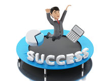 3d Businessman jumping on a trampoline with word success. 3d Illustration. Businessman jumping on a trampoline with word success. Business and success concept Royalty Free Stock Photo