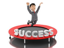 3d Businessman jumping on a trampoline with word success. 3d Illustration. Businessman jumping on a trampoline with word success. Business and success concept Stock Photo