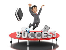 3d Businessman jumping on a trampoline with word success. 3d Illustration. Businessman jumping on a trampoline with word success. Business and success concept Stock Image