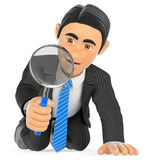 3D Businessman kneeling looking through a magnifying glass stock photography