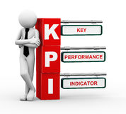 3d businessman with kpi signpost illustration. 3d rendering of business person standing with kpi - key performance indicator signpost. 3d white people man Stock Image