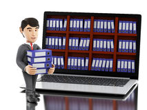 3d Businessman with laptop and pile of folders. Stock Photo