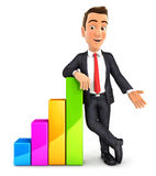 3d businessman leaning against bar chart Stock Images