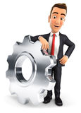 3d businessman leaning on a gear. Isolated white background Royalty Free Stock Images