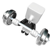 3d Businessman the lifting heavy weight. 3D Square Man Series. Stock Images