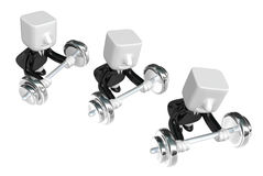 3d Businessman the lifting heavy weight. 3D Square Man Series. Stock Image