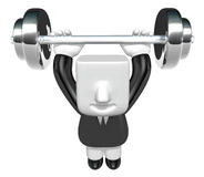 3d Businessman the lifting heavy weight. 3D Square Man Series. Stock Photography