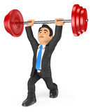 3D Businessman lifting weights. 3d business people illustration. Businessman lifting weights. White background Royalty Free Stock Images