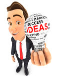 3d businessman light bulb Stock Images