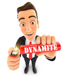 3d businessman lighting a stick of dynamite. Illustration with  white background Royalty Free Stock Image