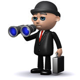 3d Businessman looking with binoculars. 3d render of a businessman looking through binoculars Royalty Free Stock Photography