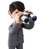 3d Businessman looking through binoculars. 3d render illustration. Businessman looking through binoculars. Success in business. Isolated white background Royalty Free Stock Photography