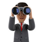 3d Businessman looking through binoculars. 3d render illustration. Businessman looking through binoculars. Success in business. Isolated white background Royalty Free Stock Photo