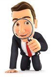 3d businessman looking through a magnifying glass. Illustration with isolated white background Stock Photo