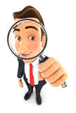 3d businessman looking into a magnifying glass. Isolated white background Royalty Free Stock Image