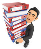 3D Businessman with a lot of work to do Stock Images