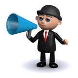 3d Businessman with loudhailer. 3d render of a businessman speaking through a megaphone Stock Photography