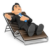 3D Businessman lying on a divan speaking Royalty Free Stock Image