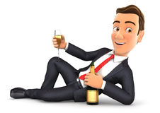 3d businessman lying on the floor with champagne. Illustration with isolated white background Royalty Free Stock Image