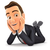 3d businessman lying on floor and smiling Stock Photography