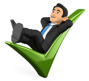 3D Businessman lying on a green tick. 3d business people illustration. Businessman lying on a green tick. White background Stock Images