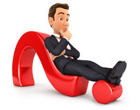 3d businessman lying on question mark. White background Royalty Free Stock Photo