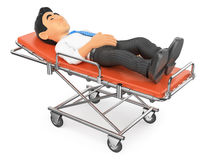 3D Businessman lying on a stretcher in the hospital. 3d medical people illustration. Businessman lying on a stretcher in the hospital. White background Royalty Free Stock Image