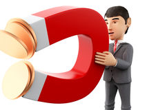 3d Businessman with a magnet attracting money. 3d renderer image. Businessman with a magnet attracting money. Business concept. Isolated white background Stock Images
