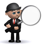 3d Businessman magnifies the issue. 3d render of a businessman looking through a magnifying glass Stock Images