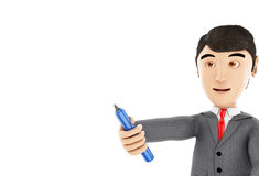 3d Businessman with a marker. 3d Illustration. Businessman with a marker. Business concept. Isolated white background Royalty Free Stock Photo