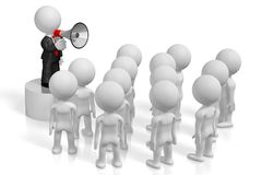 3D businessman with a megaphone, audience. Audience - great for topics like communication, advertisement, announcement etc Stock Image