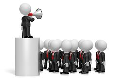 3D businessman with a megaphone, audience. Audience - great for topics like communication, advertisement, announcement etc Royalty Free Stock Photos