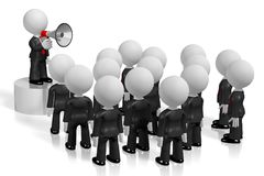 3D businessman with a megaphone, audience. Audience - great for topics like communication, advertisement, announcement etc Royalty Free Stock Photography