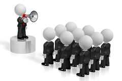 3D businessman with a megaphone, audience. Audience - great for topics like communication, advertisement, announcement etc Stock Images